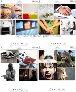 Distintos niveles del juego que combina fotos para descifrar un significado común