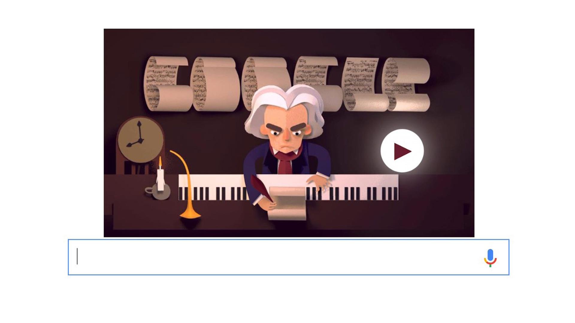 El gigante de los buscadores le dedicó un doodle interactivo donde se debe ayudar al músico a rearmar sus partituras