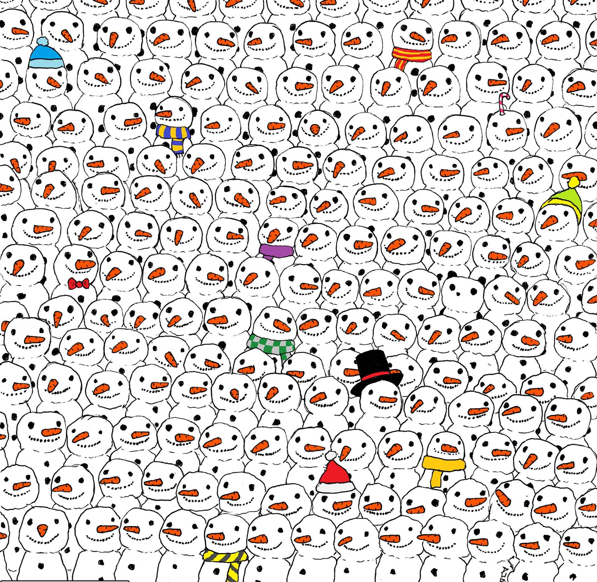 Una imagen se ha hecho viral en las redes sociales, se trata de un juego en el que tienes que encontrar entre bolas de nieve a un panda