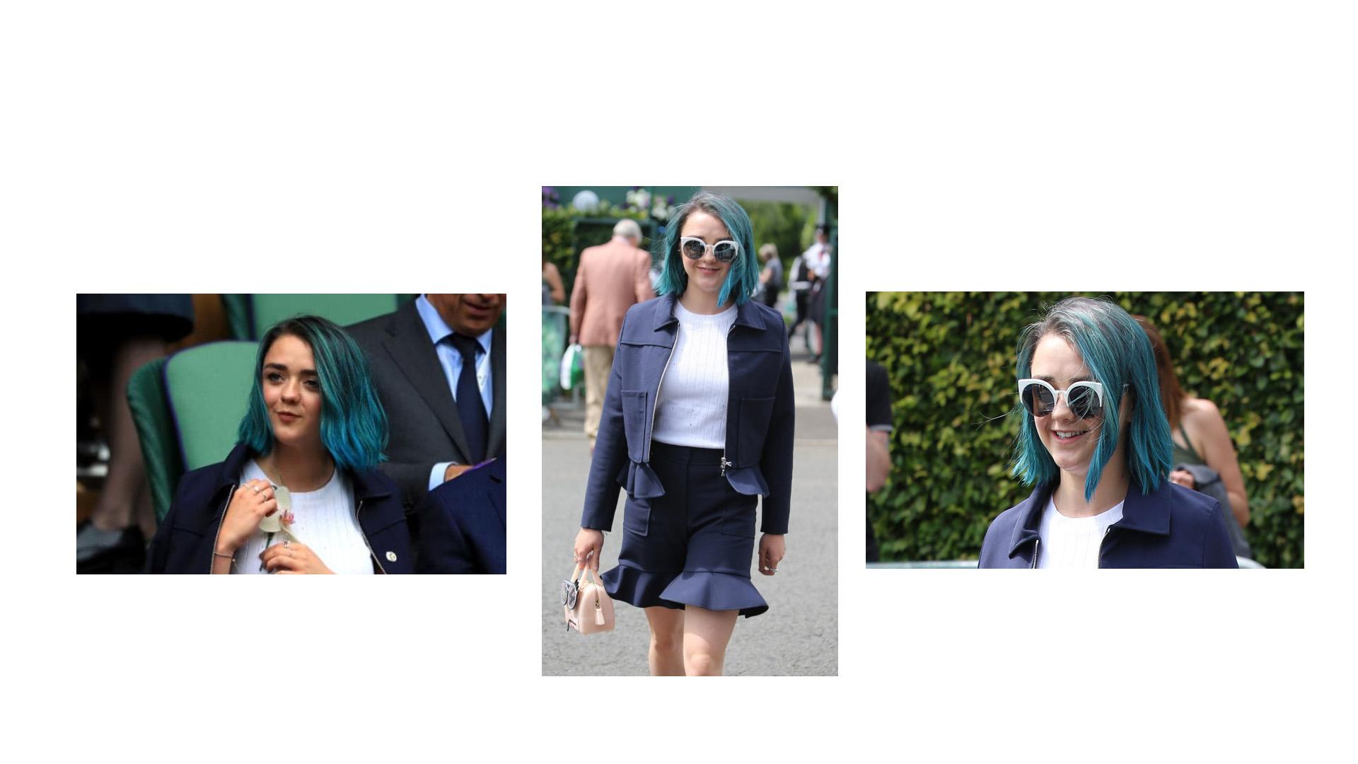 La actriz de 19 años estrenó un nuevo tono de cabello durante el torneo Wimbledon de Londres