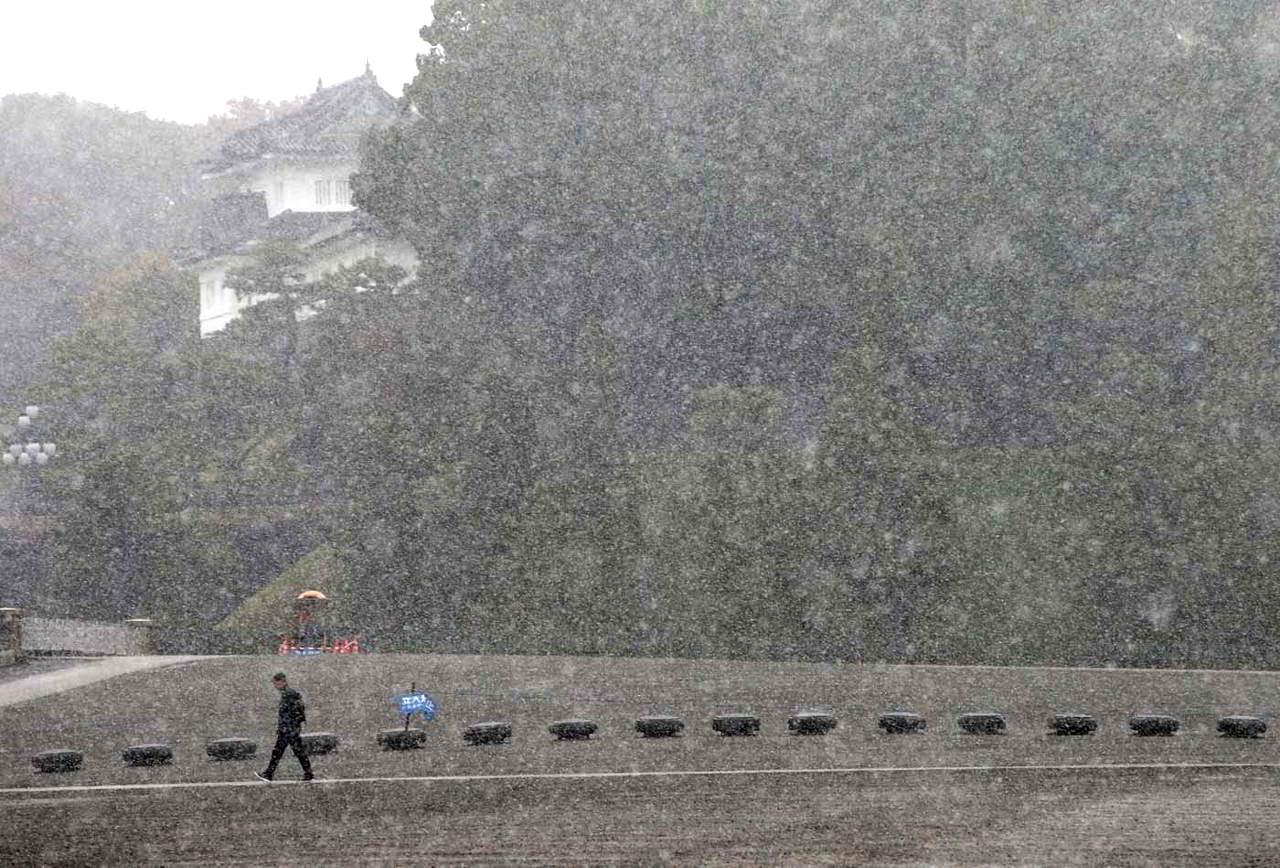 Bajada de temperaturas hizo que cayera sobre el país asiático la primera nevada