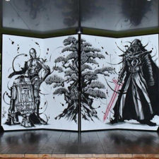 Japón exhibe biombo inspirado en Star Wars