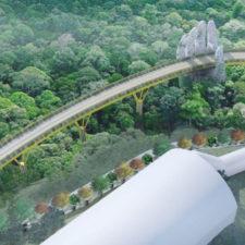 Dos manos de piedra gigante sostienen a un puente en Vietnam