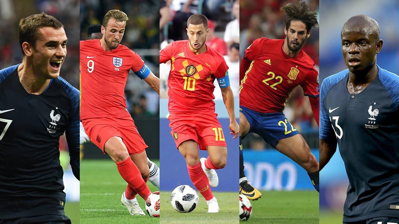 Los campeones del mundo Antoine Griezmann y N'Goló Kanté encabezan una lista donde también figuran Eden Hazard, Isco y Harry Kane