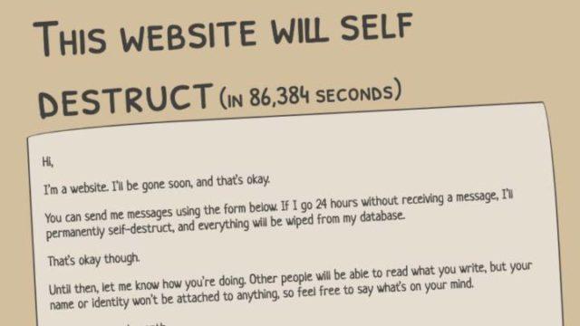 Página web se autodestruirá si nadie escribe en 24 horas